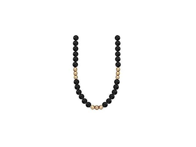 9 MM Round Black Onyx with Yellow Beads Necklace Set on 14K Yellow Gold Chain 36 Inch Necklace