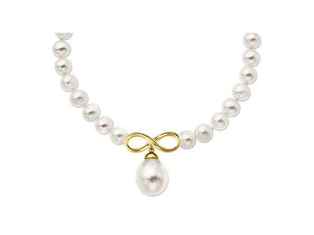 8MM Mother of Pearl Necklace with Infinity Symbol in 18K Yellow Gold Vermeil 17 Inch