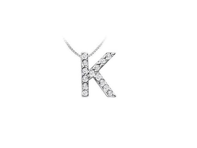 CZ Initial Sterling Silver K Pendant