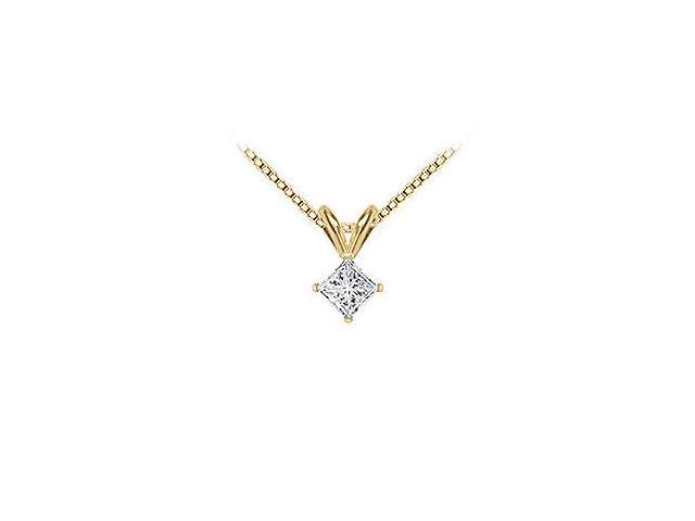 18K Yellow Gold  Princess Cut Diamond Solitaire Pendant  0.33 CT. TDW.