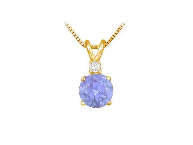 Diamond and Tanzanite Solitaire Pendant  14K Yellow Gold - 1.00 CT TGW