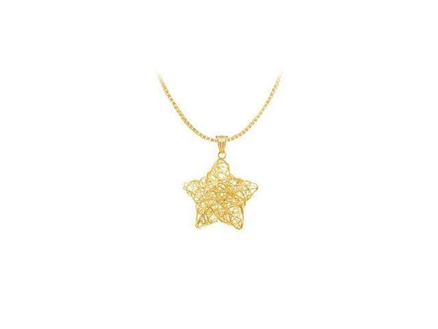 14K Yellow Gold Wire Star Pendant