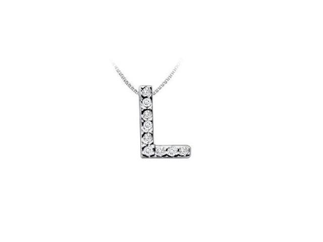 Classic L Initial Diamond Pendant  14K White Gold - 0.10 CT Diamonds