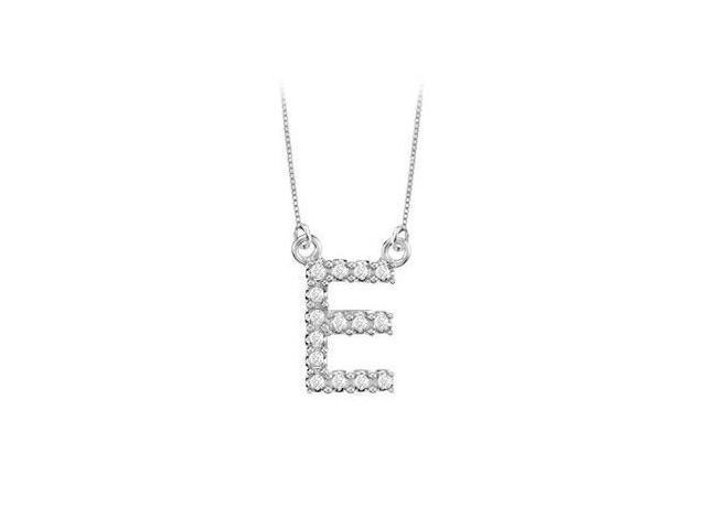 Petite Baby Charm Diamond E Initial Pendant  14K White Gold - 0.20 CT Diamonds