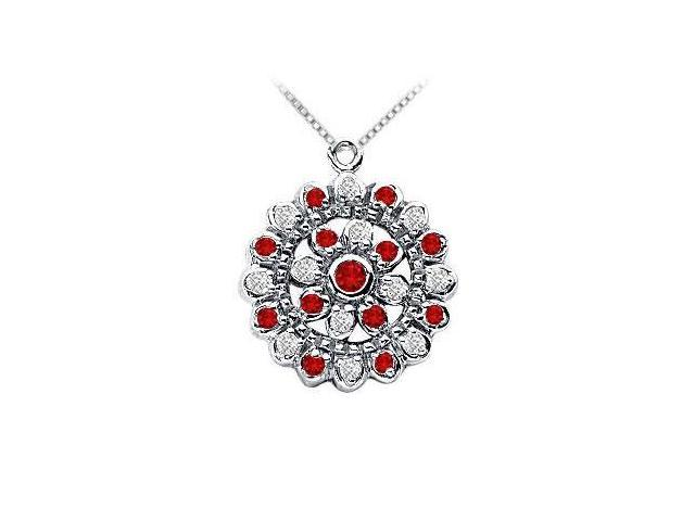 Ruby and Diamond Flower Pendant  14K White Gold - 0.50 CT TGW