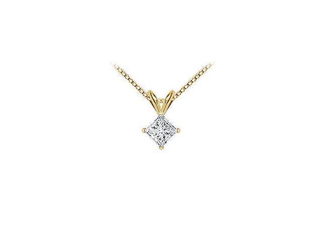 14K Yellow Gold  Princess Cut Diamond Solitaire Pendant - 1.00 CT. TW.