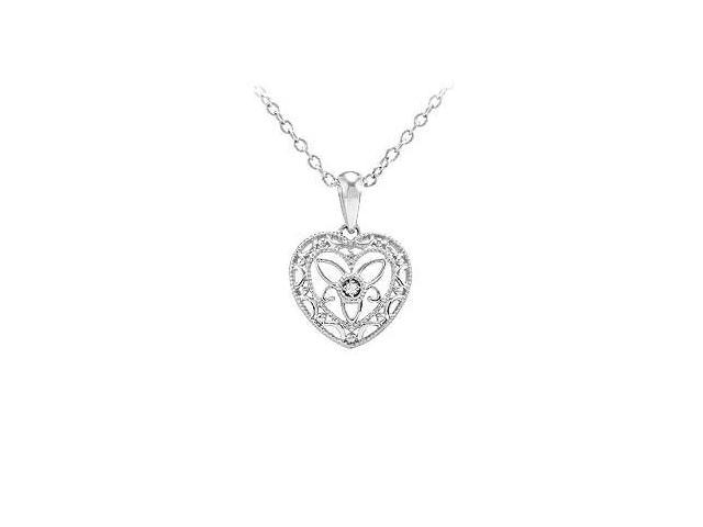 Diamond Heart Pendant - .925 Sterling Silver - 0.005 CT Diamond