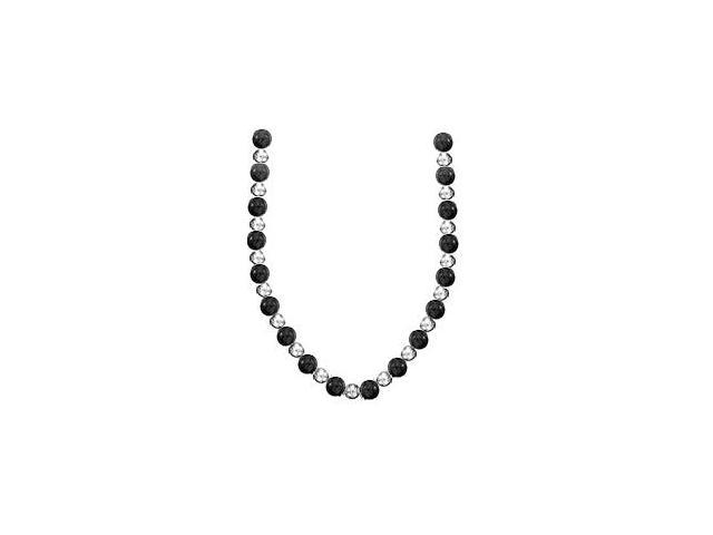 7 MM Beads Necklace with 9 MM Black Onyx Set on 14K White Gold Chain in 18 Inch Necklace