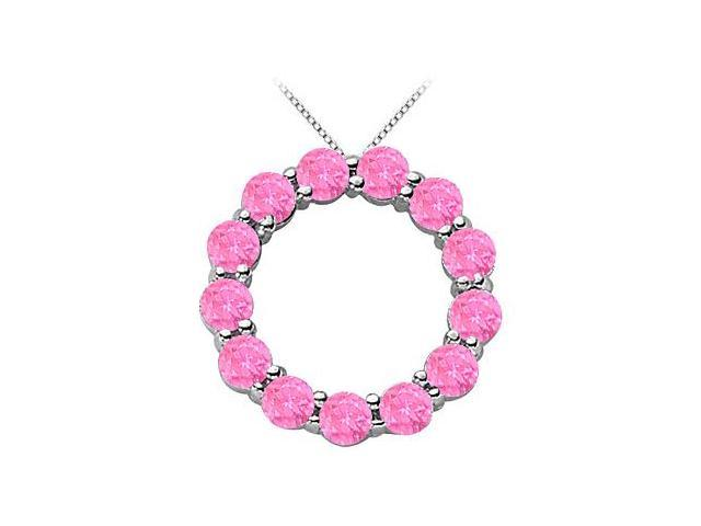 Simulated Pink Sapphire Circle of life Pendant in .925 Sterling Silver 2 Carat TGW