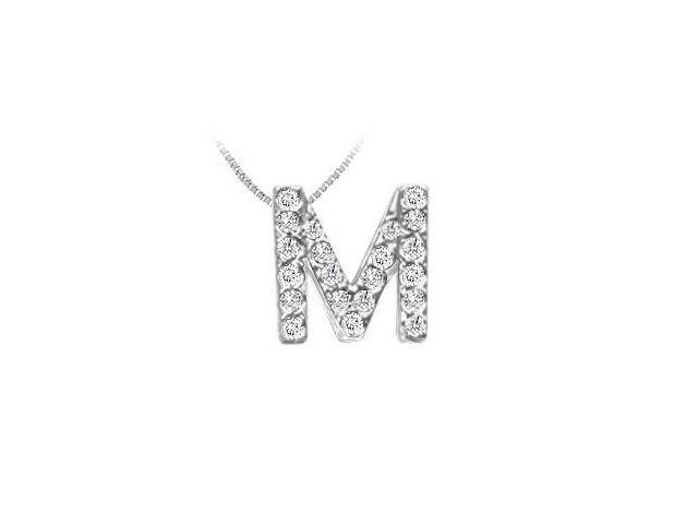 Classic M Initial Diamond Pendant  14K White Gold - 0.25 CT Diamonds