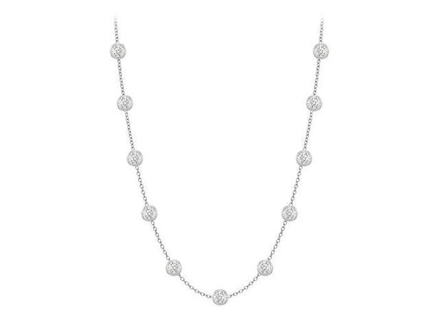 Diamonds By The Yard Necklace in 14K White Gold Bezel Set 0.33 ct.tw