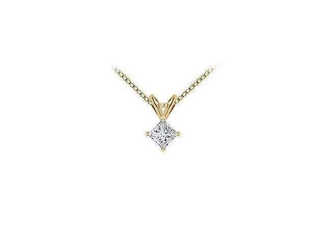 18K Yellow Gold  Princess Cut Diamond Solitaire Pendant  0.50 CT. TDW.
