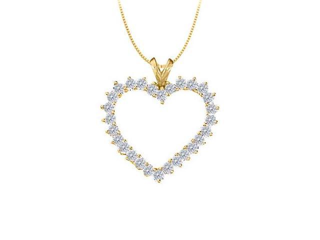 April birthstone Diamond Heart Pendant 14K Yellow Gold With Total 2.00 Carat Diamonds in Heart