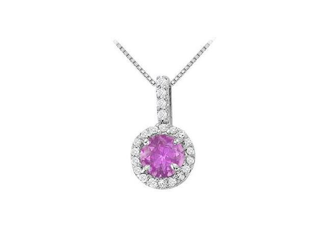 Fancy Round Amethyst and Cubic Zirconia Halo Pendant in 14K White Gold