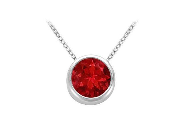 Created Ruby Solitaire Pendant in 14kt White Gold 1.00.ct.tgw