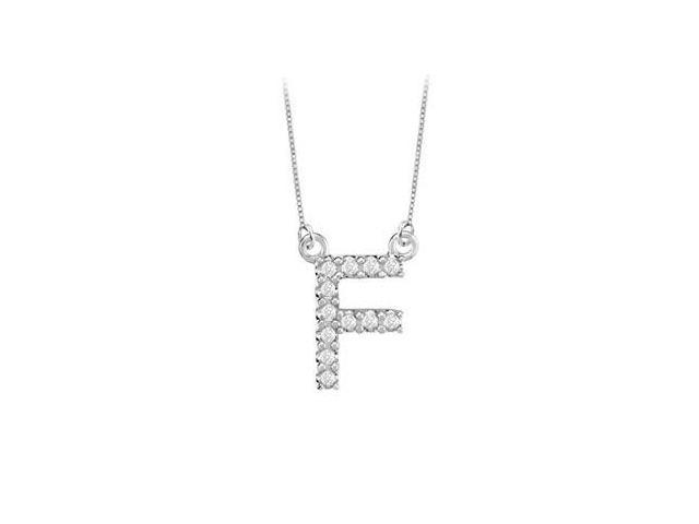 Petite Baby Charm Cubic Zirconia F Initial Pendant  .925 Sterling Silver - 0.25 CT TGW