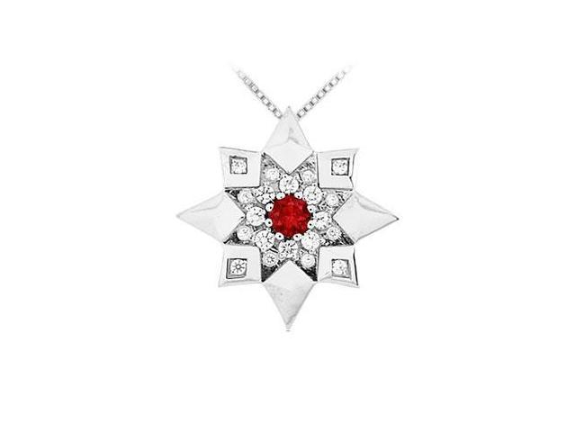 Ruby and Diamond Star Pendant  14K White Gold - 0.66 CT TGW