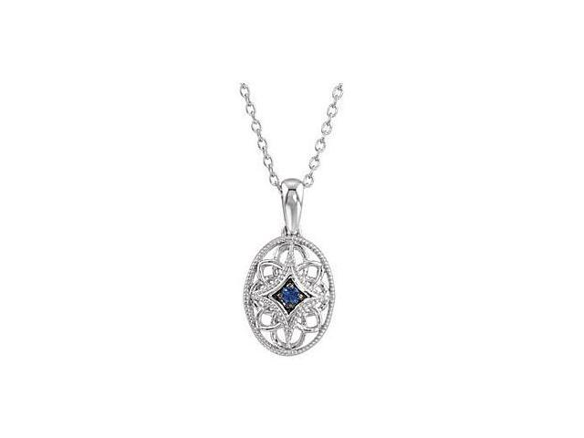 Sterling Silver Rhodium Plating Genuine blue Sapphire Pendant 18 Inch Chain with  0.03 Carat TGW