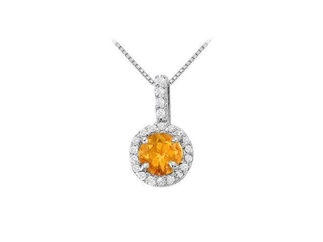 Fancy Round Citrine and Cubic Zirconia Halo Pendant in 14K White Gold 1.25 CT TGW