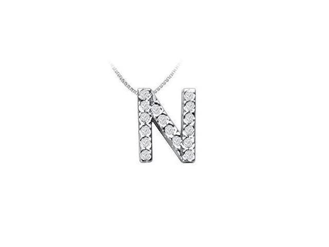 Classic N Initial Diamond Pendant  14K White Gold - 0.15 CT Diamonds