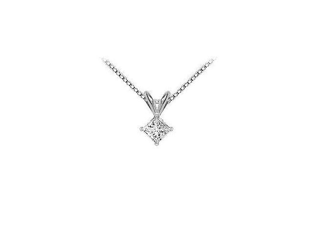 18K White Gold  Princess Cut Diamond Solitaire Pendant  0.50 CT. TDW.