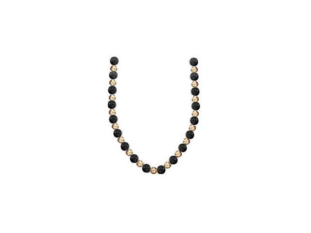 9 MM Black Onyx Necklace with 7 MM Beads Set on a 14K Yellow Gold Chain in 18 Inch Necklace