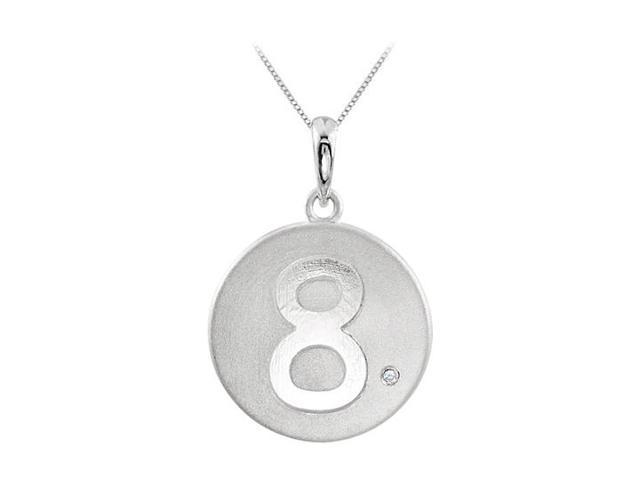 Single Diamond and Numeric 8 Engraved Disc Pendant in 14K White Gold