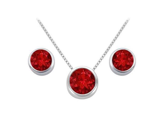 Created Ruby Solitaire Stud Earrings and Pendant in 14kt White Gold 3.00.ct.tgw