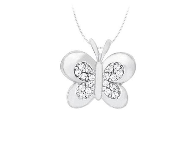 Butterfly Pendant Necklace with Cubic Zirconia in Sterling Silver 0.50 CT TGW.