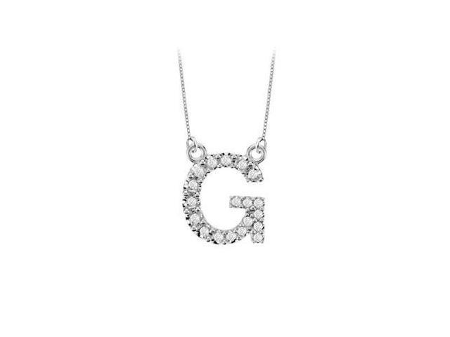 Petite Baby Charm Diamond G Initial Pendant  14K White Gold - 0.20 CT Diamonds