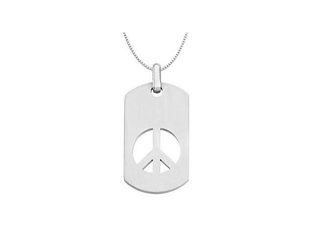 Peace Sign Dog Tag Pendant Rhodium Plating .925 Sterling Silver 50.25X23.50 MM
