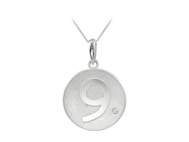 Polished Disc Pendant in 14K White Gold Engrave Number 9 with Single Diamond 0.005 Carat
