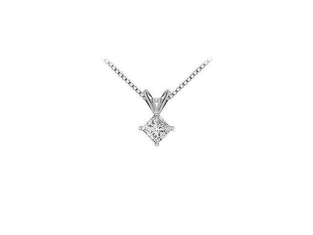 18K White Gold  Princess Cut Diamond Solitaire Pendant  0.75 CT. TDW.
