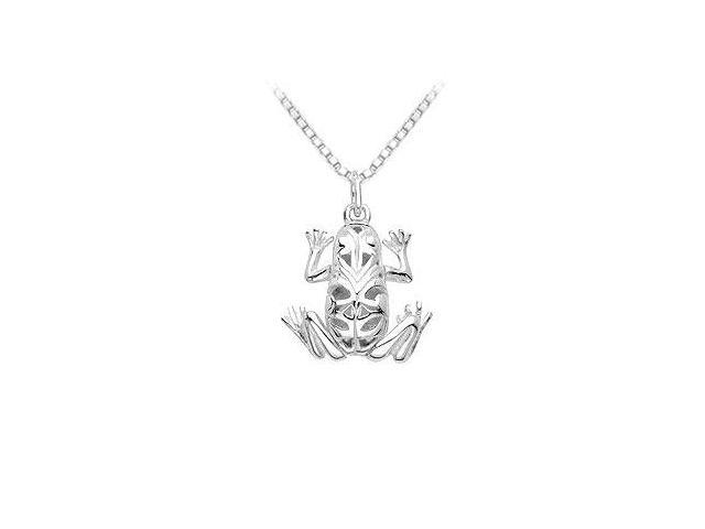 Sterling Silver Articulated Frog Dangle Pendant