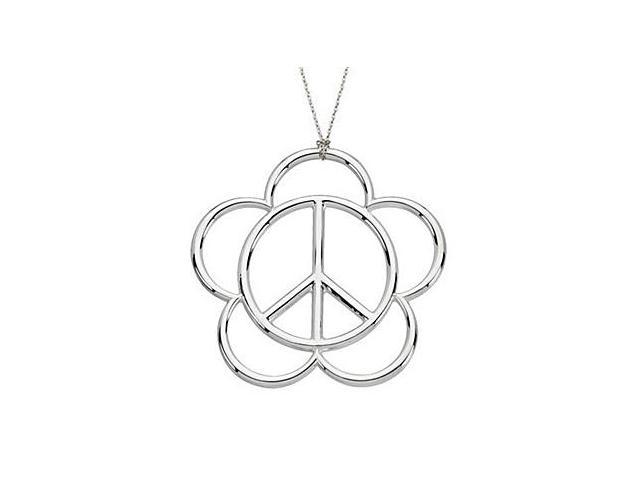 Flower Peace Sign Pendant in .925 Sterling Silver Rhodium Plating 23.5X24 MM