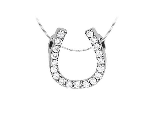 Sterling Silver Horse Shoe Pendant with Cubic Zirconia 0.50 CT TGW