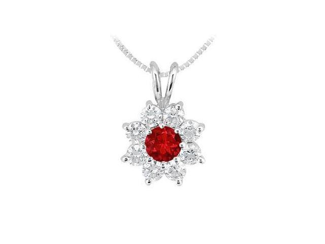 Ruby and Diamond Flower Pendant  14K White Gold - 0.75 CT TGW