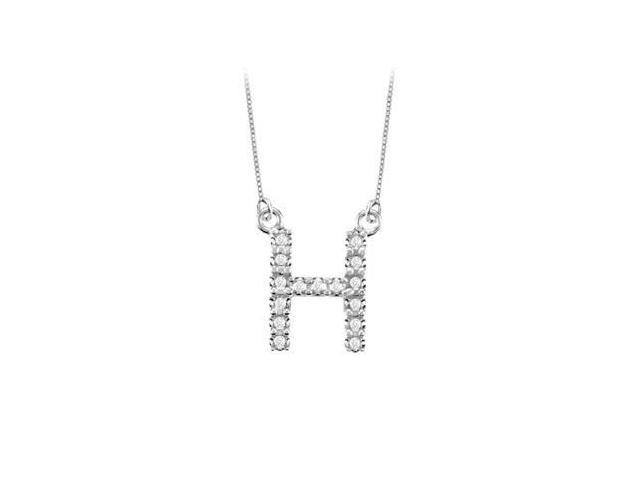 Petite Baby Charm Diamond H Initial Pendant  14K White Gold - 0.20 CT Diamonds