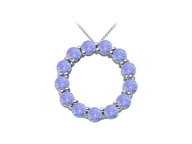 Created Tanzanite Circle of Life Pendant in Rhodium Treated Sterling Silver 2 Carat TGW