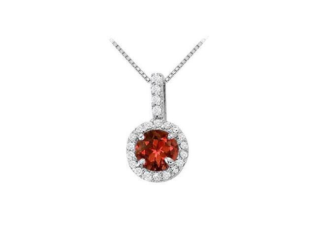Fancy Round Garnet and Cubic Zirconia Halo Pendant in 14K White Gold