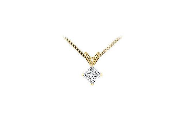 18K Yellow Gold  Princess Cut Diamond Solitaire Pendant  0.75 CT. TDW