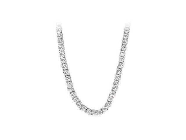 CZ Tennis Necklace in 14K White Gold 16.00.ct.tw