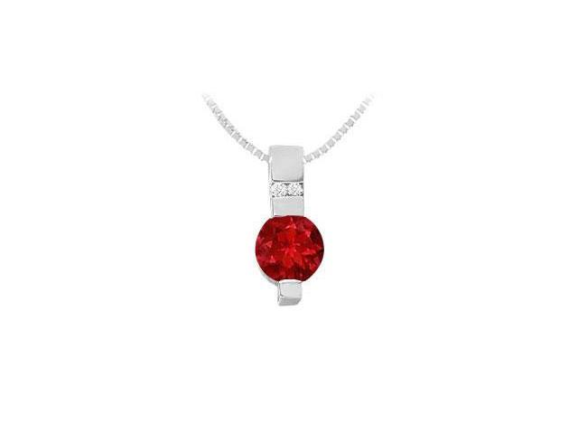 Ruby and Diamond Pendant  14K White Gold - 1.05 CT TGW