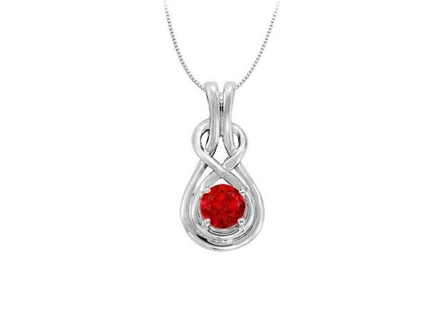 Knot pendant in Sterling Silver with July Birthstone Created Ruby 0.50 CT TGW