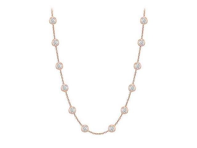 Diamonds By The Yard Necklace in 14K Rose Gold Bezel Set 0.50ct.tw
