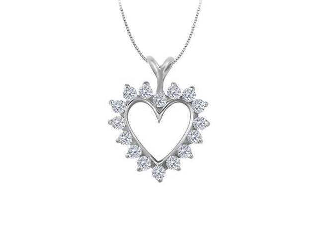 April birthstone Diamond Heart Pendant in 14K White Gold 0.50 CT TDW