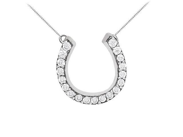 925 Sterling Silver Horse Shoe Pendant with Cubic Zirconia 0.50 CT TGW with Free Silver Chain