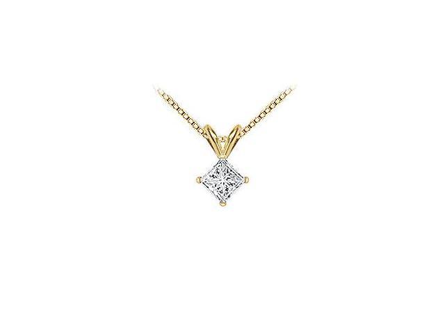 18K Yellow Gold  Princess Cut Diamond Solitaire Pendant  1.00 CT. TDW.