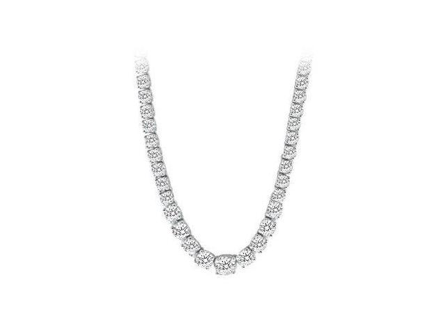 Graduated CZ Tennis Necklace in 14K White Gold 17.00.ct.tw