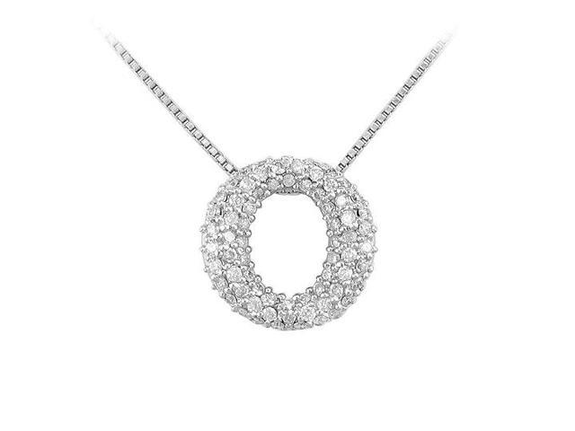 Diamond O Pendant  14K White Gold - 0.75 CT Diamonds